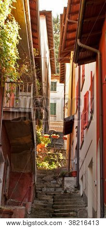Narrow street in Varenna, Italy