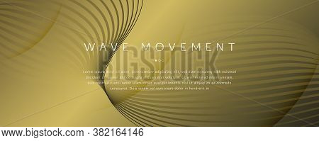 Abstract Vector Curve. Golden Futuristic Landing Page. 3d Flow Shape. Minimal Poster. Yellow Abstrac