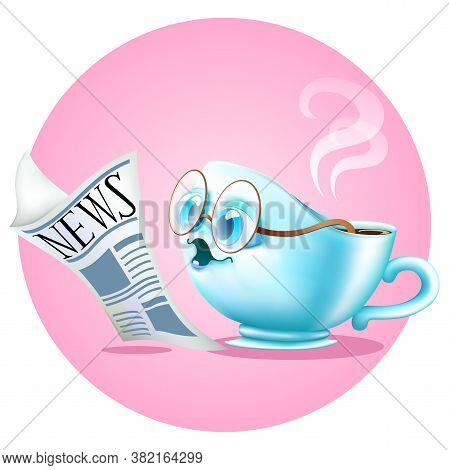 Funny Cartoon Coffee Cup Reading A Newspaper On Pink Background