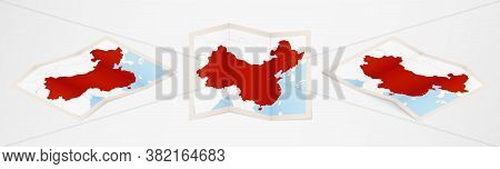 Folded Map Of China In Three Different Versions. Vector Map Of China.