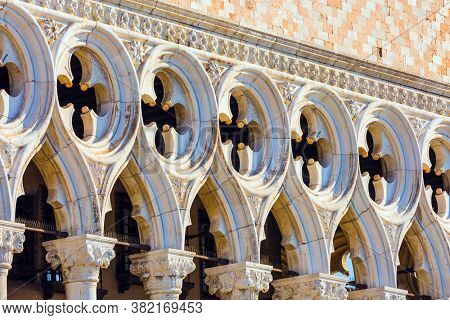 Doge's Palace is  monument of Italian Gothic architecture. Decor element. Magical journey to magnificent Venice. Doge's Palace in Piazza San Marco. The concept of cultural and photo tourism