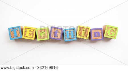 Teething Word Made From Colourful Wooden Baby Development Blocks