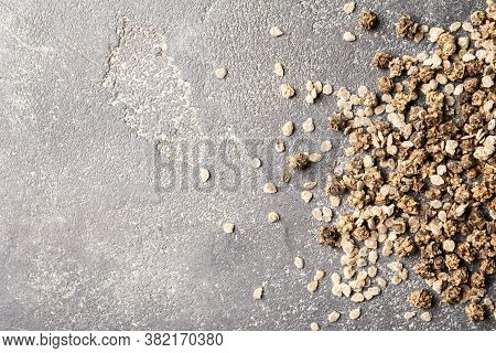 Mixed Vegetable Seeds On Grey Background, Flat Lay. Space For Text