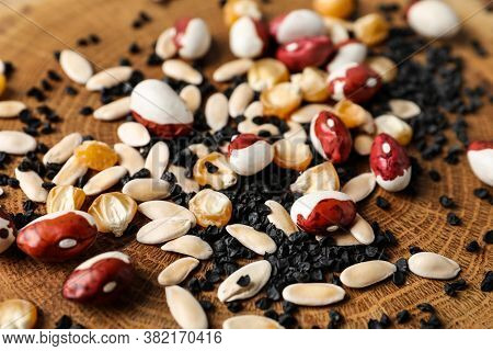 Mixed Vegetable Seeds On Wooden Background, Closeup