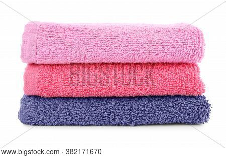 Folded Soft Terry Towels Isolated On White