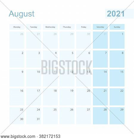 2021 August Wall Planner In Blue Pastel Color, Week Starts On Monday. Calendar For August 2021 With