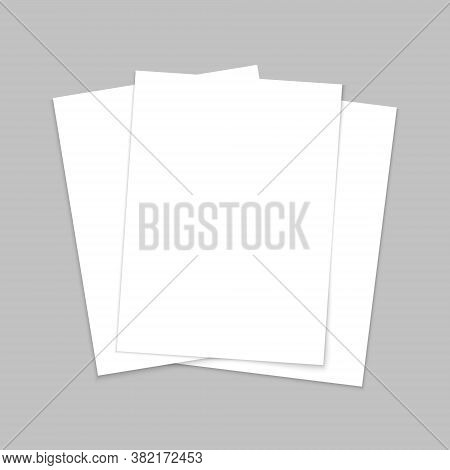 Mockup Paper. Blank Template Of Leaflet. A4 Cover And Flyer. Stack Of White Sheets. Page For Brochur