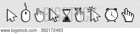 Cursor Of Mouse With Arrow, Hand And Hourglass. Icons Of Click For Web And Computer. Finger Of Point