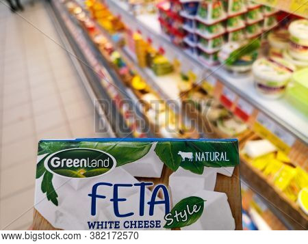 Greenland Feta Wite Brine Cheese In Ashan Shopping Center On May 6, 2020 In Russia, Tatarstan, Kazan