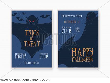 Halloween Party Invitation, Poster, Template With Place For Text. All Saints Day Holiday Masquerade
