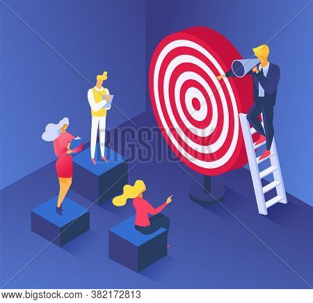 Business Target Concept, Goal Achievement For People Success Vector Illustration. Flat Man Character