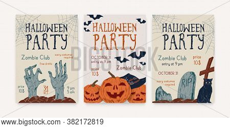 Halloween, All Saints Day Party Invitation, Poster, Template, Flyer. Holiday Creepy Leaflet Design.