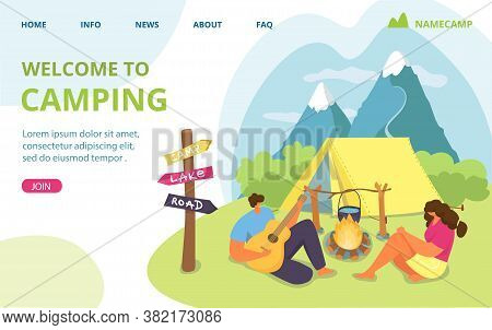 Couple Travel With Tent, Man Woman Summer Vacation At Nature Camp Vector Illustration. Cartoon Outdo