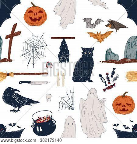 Hand Drawn Halloween, Fall Symbols. Autumn Seasonal Holiday, Broom, Vampire, Pumpkin. Endless Hellow