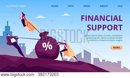 Business Financial Support By People Hero, Flat Super Leader Person Vector Illustration. Successful