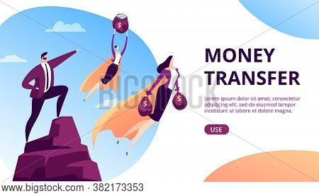 Money Transfer Concept Vector Illustration. Business Finance Hero Character With Cash, Online Bank P