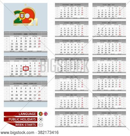 Portuguese Wall Calendar Planner Vector Template For 2021 Year. Portuguese And English Language. Wee