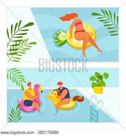 Holiday Summer Relax In Water Pool, Vacation Travel Vector Illustration. Girl Woman Man Sunbathing A