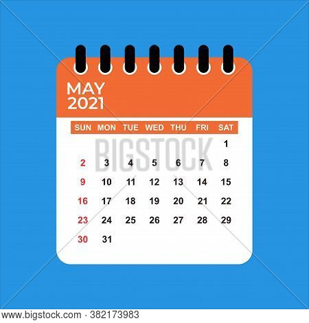 May 2021 Calendar. Calendar May 2021. May 2021 Calendar Vector Illustration. Wall Desk Calendar Vect