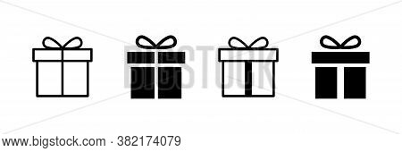 Present Gift Box Icon. Vector Isolated Elements. Christmas Gift Icon Illustration Vector Symbol. Sur