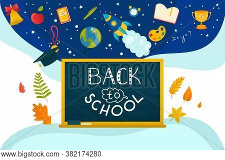 Education Chalk Drawing At Board, Slate Background Concept Vector Illustration. Back To School White