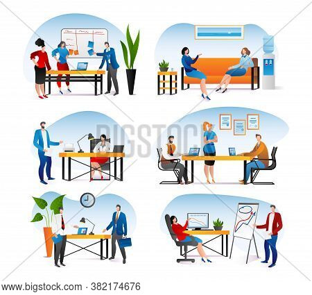 Business Office With People Work Set, Vector Illustration. Team Man Woman Character At Flat Job, Car