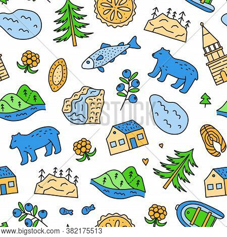 Seamless Pattern With Doodle Colored Karelia Icons Including Lake, Waterfall, Rocks, Bell Tower Of K