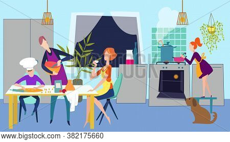 Cook Home Food At Kitchen Together, Family People Cooking Dinner, Vector Illustration. Woman Man Hap