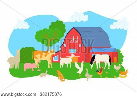 Cartoon Pig, Sheep, Horse, Cow At Farm Vector Illustration. Animal At Nature Landscape, Barn For Chi