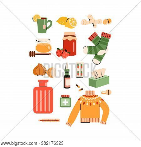 Set Of Warm Clothing And Natural Remedies For Flu And Cold Home Treatment And Medication, Flat Vecto