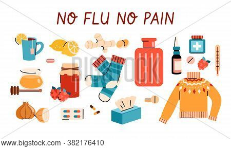 Cold Or Flu Virus Home Treatment Or Remedy Set - Cartoon Poster With Healthy Food, Medicine And Infl