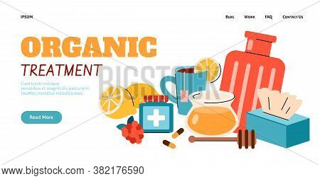 Organic Flu Treatment And Home Remedy Banner Template For Health Website. Vector Illustration Of Hea