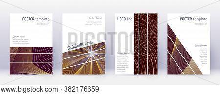 Geometric Brochure Design Template Set. Gold Abstract Lines On Bordo Background. Alive Brochure Desi