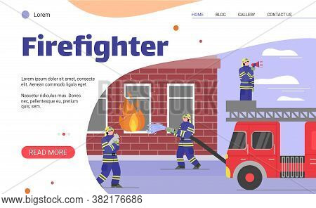 Firefighters Extinguish A Burning House. A Uniformed Fire Brigade Rescues Pets And Uses Water From A