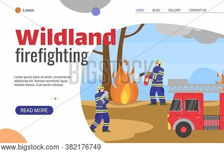 Wildland Firefighting Forces Web Banner Template With Fighters And Rescues Characters In Forest, Fla