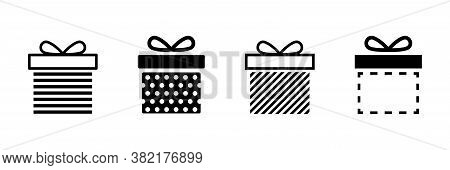 Present Gift Box Icon. Vector Isolated Elements. Christmas Gift Icon Dotted Illustration Vector Symb