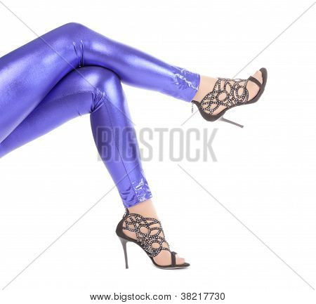 Sexy Stylish Legs In Shimmering Blue Leggins