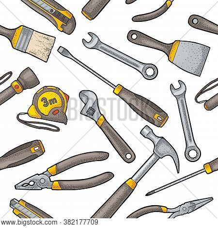 Seamless Pattern Set Hardware Tools. Hammer, Screwdrivers, Tape Measure, Wrench, Pliers, Utility Kni