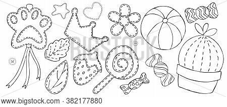 Cute Items For A Girl - Crown, Sweets, Toys, Decorations, Decorative Element, Vector Set Of Elements