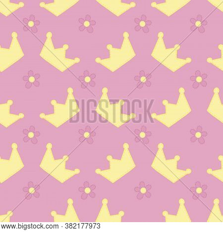 Cute Crowns For Princess With Decorative Stitching For Girl, Toy, Vector Seamless Pattern On Pink Ba