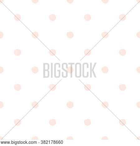 Seamless Pink Watercolor Polka Dot Pattern On White Background In Nordic Style. Elegant Print For Fa