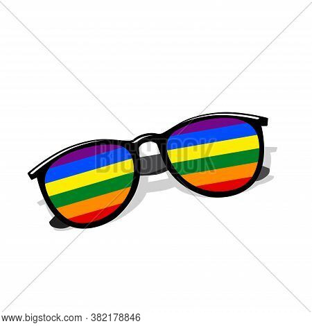 Sunglasses With Rainbow Lgbt Flag. Sunglasses With Rainbow Lgbt Flag.