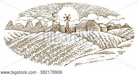 Rural Landscape. Outline Hand Drawing. Fields, Hills And Countryside. Sunset. Solated Vector Object