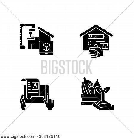 Manual Work Black Glyph Icons Set On White Space. 3d Model For Project. Building House From Prototyp