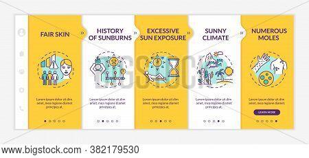 Skin Cancer Risk Factors Onboarding Vector Template. History Of Sunburns. Excessive Sun Exposure. Re