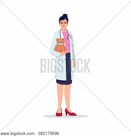 Pediatrician Semi Flat Rgb Color Vector Illustration. Children Care Doctor. Medical Staff. Young Chi