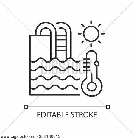 Water Temperature Linear Icon. Water Park Recreation, Summer Rest Thin Line Customizable Illustratio