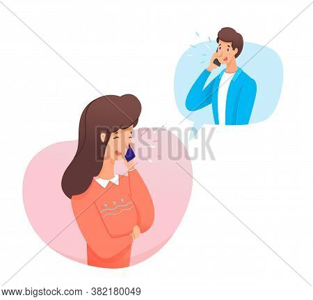 Smiling Woman Calls Man. Young Couple Is Talking On Phone, Romantically Flirting Or Friendly Convers