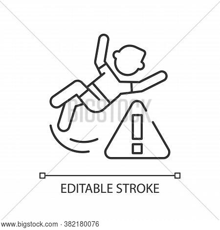 Be Careful Linear Icon. Water Park, Public Places Safety Rule Thin Line Customizable Illustration. C