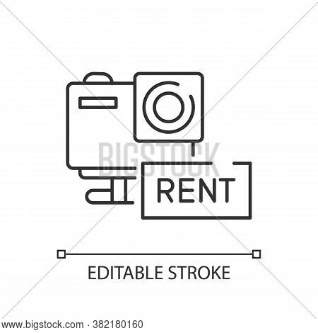 Action Camera Rental Linear Icon. Aqua Park Service, Photographic Equipment Rent Thin Line Customiza